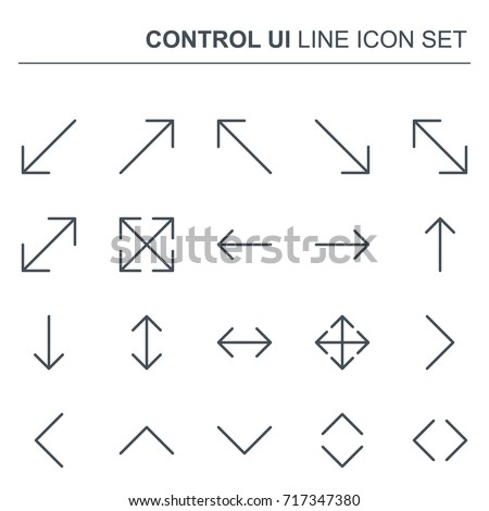 Control UI Pixel Perfect Vector Thin Line Arrows Icons 96x96 for Web Graphics and Apps. Simple Minimal Pictogram.