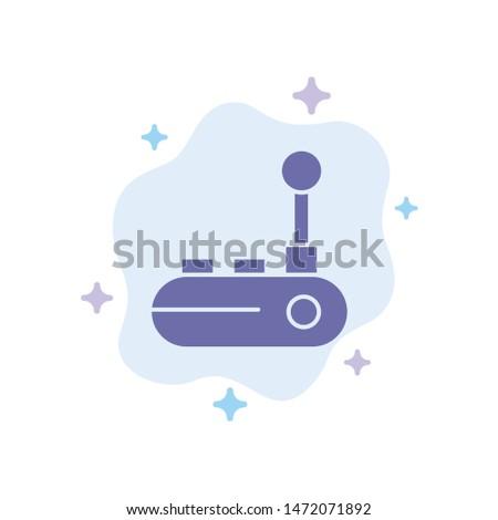 Controller, Joy Pad, Joy Stick, Joy pad Blue Icon on Abstract Cloud Background