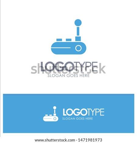 Controller, Joy Pad, Joy Stick, Joy pad Blue Solid Logo with place for tagline