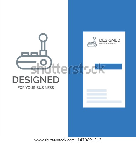 Controller, Joy Pad, Joy Stick, Joy pad Grey Logo Design and Business Card Template. Vector Icon Template background