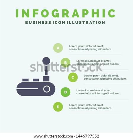 Controller, Joy Pad, Joy Stick, Joy pad Solid Icon Infographics 5 Steps Presentation Background