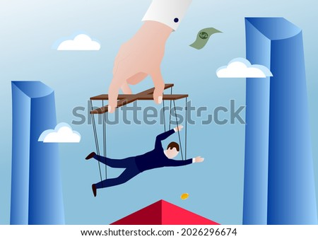 Controlling employees like puppets in a corporation. Mobbing in corporations, exploitation at work, work for little money. An imperious boss controlling subordinates Foto stock ©