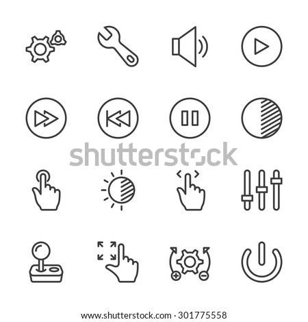 Controls icons - vector, eps10 (line icon)