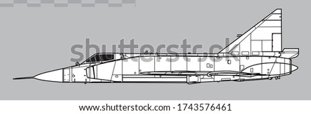 Convair F-102 Delta Dagger. Vector drawing of interceptor aircraft. Side view. Image for illustration and infographics.