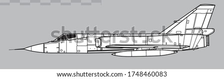 Convair F-106 Delta Dart. Vector drawing of interceptor aircraft. Side view. Image for illustration and infographics.