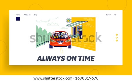 Convenient Payment from Car, Drive Thru Landing Page Template. Characters Pay Service with Credit Card Pos Terminal. Customer Purchase Goods without Leaving Auto. Linear People Vector Illustration