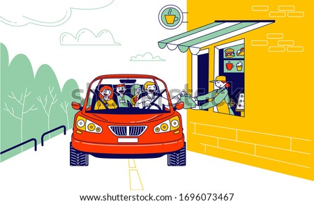 Convenient Payment from Car, Drive Thru System. Characters Pay for Takeaway Food Service with Credit Card Pos Terminal. Customer Purchase Goods without Leaving Auto. Linear People Vector Illustration