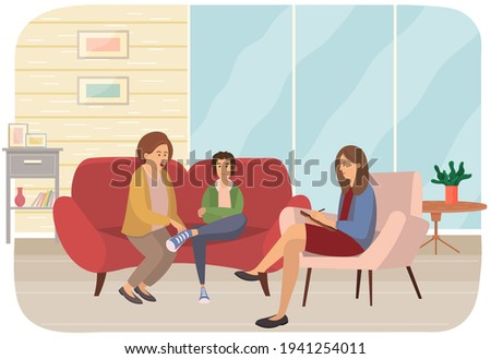 Conversation between mother, troubled teenager and female psychologist, psychotherapist makes notes Stockfoto ©