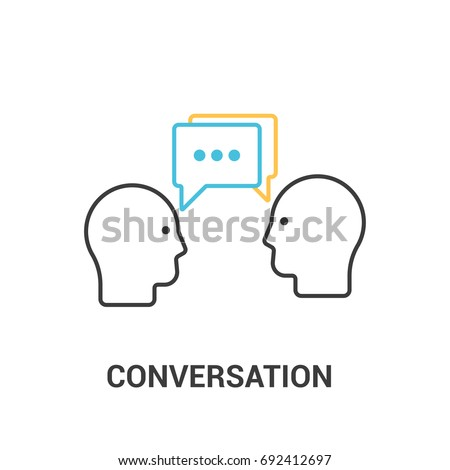 Conversation concept. Vector illustration in flat line style. Two people talking