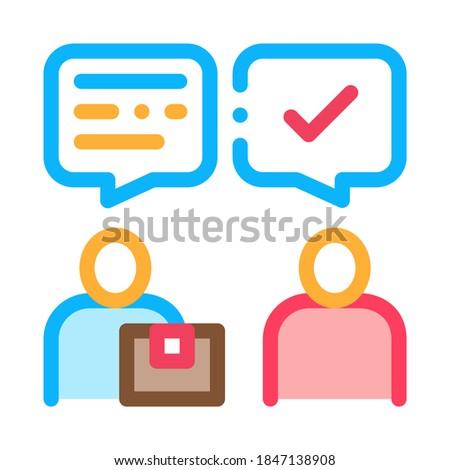 Conversation of Sender and Postman Postal Transportation Company Icon Vector Thin Line. Contour Illustration Stockfoto ©