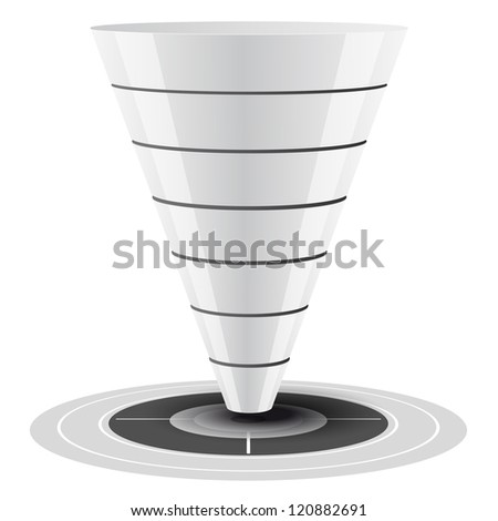 Conversion or sales funnel easily customizable, from 1 to 7 levels plus on target, vector graphics. white and grey tones.