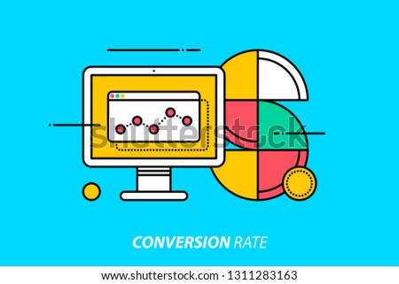 Conversion rate. Colorful illustration on bright cyan background. Modern outline style.