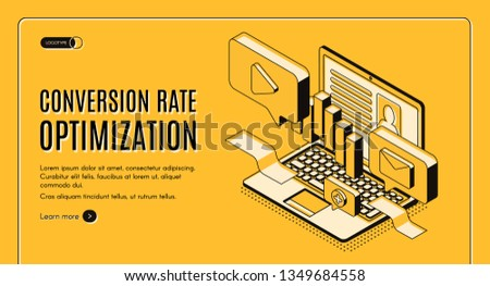 Conversion rate optimization isometric vector web banner with digital content on laptop screen illustration. Internet marketing technology, e-commerce sales optimization service landing page template