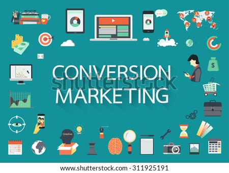 Converstion Marketing vector concept with flat icons illustration for presentations and reports