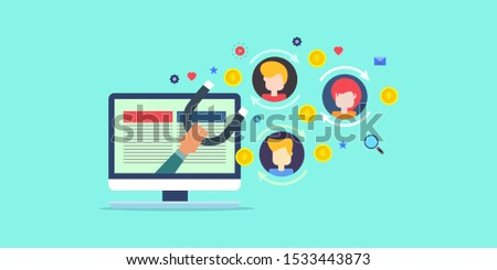Convert Leads, Customer conversion, Lead generation - flat design vector illustration with icons on isolated background