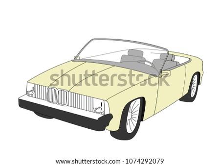convertible yellow vector