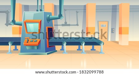 Conveyor belt and assembly machine at factory, plant or warehouse. Vector cartoon interior of workshop production line with automated machinery. Engineering equipment on manufactory