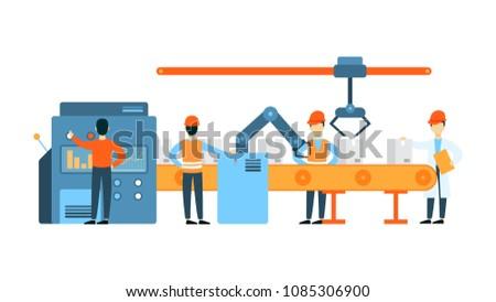 Conveyor belt illustration. People working on production.