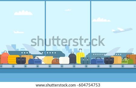 conveyor belt in airport hall