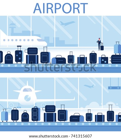 Conveyor belt in airport hall. Infographics elements.Travel concept. Flat vector illustration.