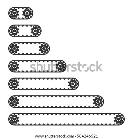 Conveyor Belt Line Set on White Background. Vector Stockfoto ©