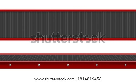 Conveyor belt top and side view, industrial empty processing production line, automated manufacturing engineering equipment for factory isolated on white background, Realistic 3d vector illustration Stockfoto ©