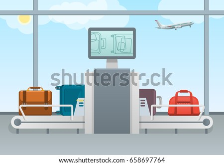 Conveyor belt transport safety airport luggage scanner with control pad and screens. Luggage examination concept. Terminal Baggage Security Check.