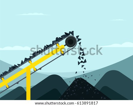 Conveyor belt with coal. mining industry vector illustration