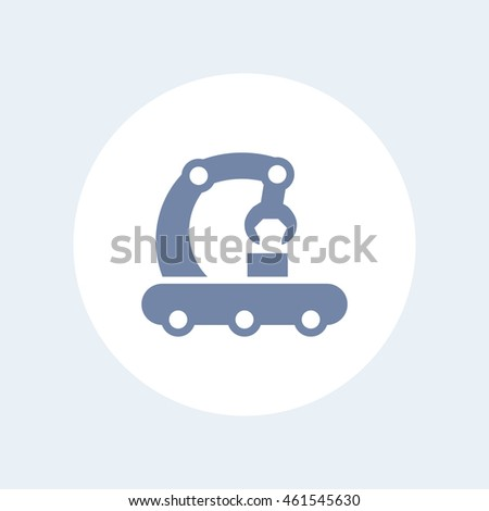conveyor line icon isolated on white, production, assembly line, factory, manufacture