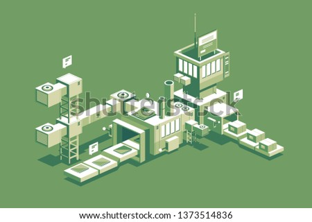 Conveyor manufacturing process vector illustration. Automated factory assembly packing line flat style concept. Industrial machine transporter with cardboard boxes