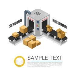 Conveyor packing parcels. Vector illustration
