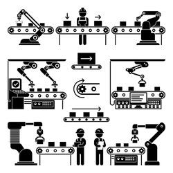 Conveyor production manufacturing line and workers vector icons. Black silhouette process automation on factory illustration