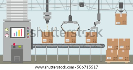 Conveyor system in flat design Stockfoto ©