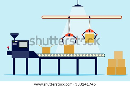 Conveyor system in flat design. Vector illustration