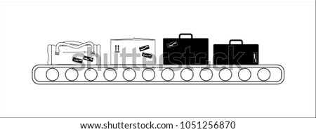 conveyor with baggage in the airport transportation stripe