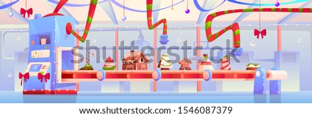 Conveyor with Christmas candy and sweets, gingerbread house, pudding, traditional xmas bakery, desserts, pastry and cakes moving on factory belt decorated with red bows. Cartoon vector illustration