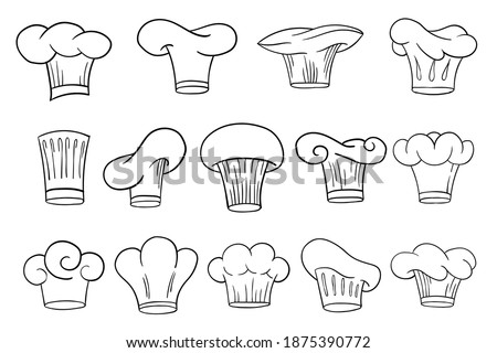 Cook chef hats caps or toques set in outline sketch cartoon style. Vector hand drawn kitchen staff uniform headwear in different shapes and designs for restaurant and cafe Stock photo ©