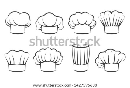 Cook chef hats icons. Hand drawn chefs toque vector illustration, kitchen cooker caps isolated on white background Foto stock ©