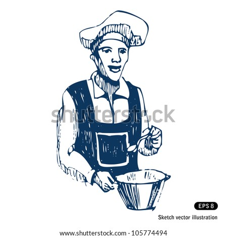 Cook. Hand drawn sketch illustration isolated on white background