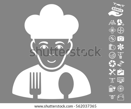 Cook icon with bonus quad copter service clip art. Vector illustration style is flat iconic white symbols on gray background.
