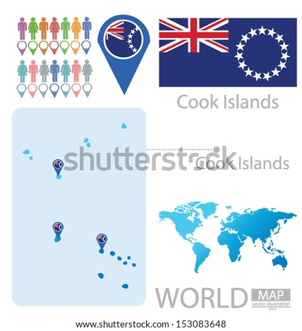 cook islands flag world map