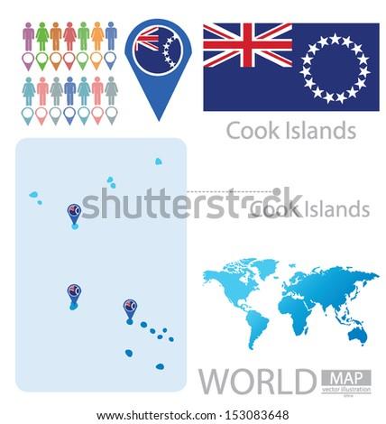 cook islands flag world map