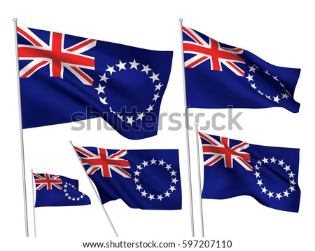 cook islands vector flags set