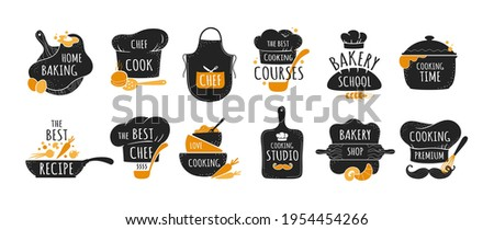 Cook logo. Restaurant kitchen chef emblems, bakery and cookery badges set. Black stickers with lettering and cooker hat or utensil. Food preparing course signs. Vector label templates Stock photo ©