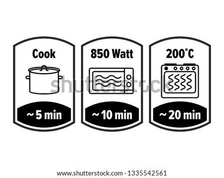 Cook minutes vector icon. 5, 10 and 20 minutes cooking in boiling saucepan, microwave watt and oven cooker temperature, food cook package instruction symbols Foto stock ©