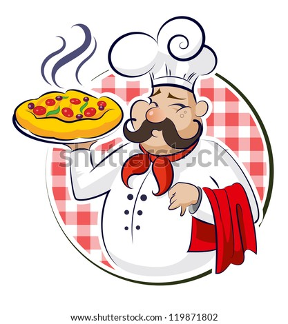 cook pizza vector illustration