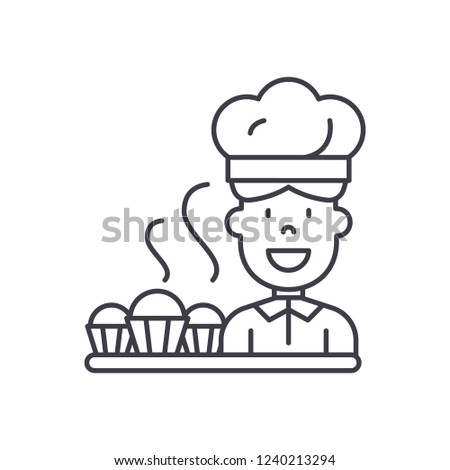Cook preparing desserts line icon concept. Cook preparing desserts vector linear illustration, symbol, sign