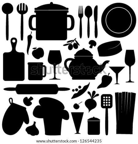 cook set black & white seamless pattern