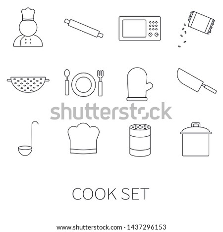 Cook set. Contains such Icons as Kitchen Utensils, Boiling and Frying Time, Cookbook and more.