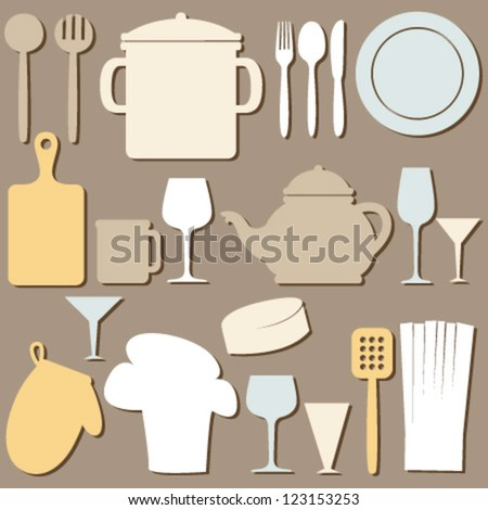 cook set silhouette on brown seamless pattern